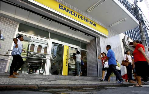 salvador, bahia Brazil, september 24, 2014, View of the facade of the Banco do Brasil branch in Salvador city center
