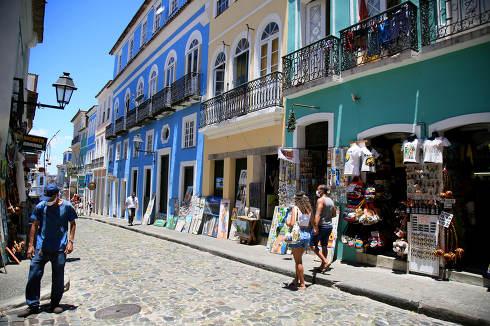 salvador, bahia, brazil-february 10, 2021: view of old houses in Pelourinho, historic center of the city of Salvador.
