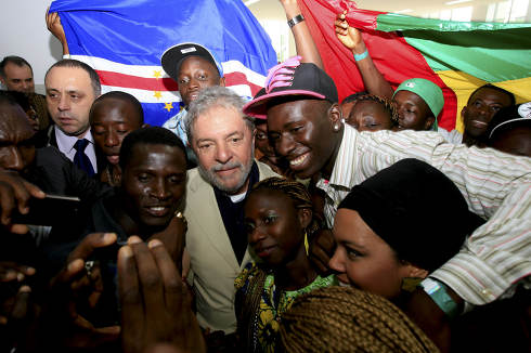 sao francisco do conde, bahia Brazil, May 12, 2014, Former President Luiz Inacio Lula da Silva and his co-religionists attend the inauguration of the campus of the University of International Integration of African-Brazilian Lusofonia Unilab