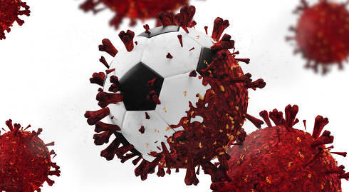 soccer ball abstract virus infection 3d-illustration