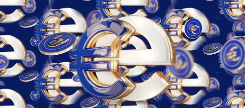 symbolic e-Euro design creative metallic golden and blue design 3d-illustration
