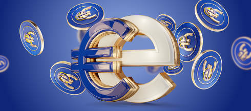 symbolic e-Euro design creative metallic golden and blue design 3d-illustration