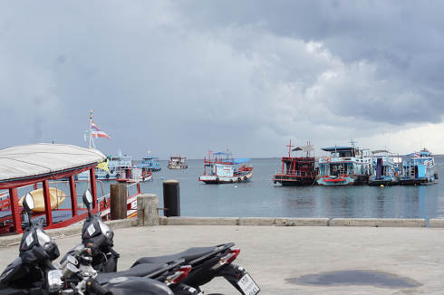 The empty pier, no people, arrivals and departures at the Mae Haad Pier at May 8, 2021, in Koh Tao Thailand