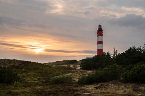 the Wittduen lighthouse at sunset, Amrum, Germany