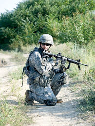 us soldier with assault rifle