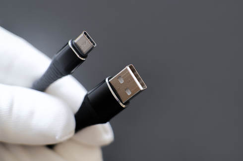 USB cable from USB to USB 3.1 type C. abstract gray background for ad design