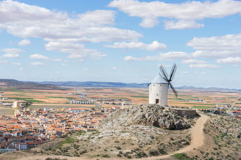 White wind mills for grinding wheat. Town of Consuegra in the pr