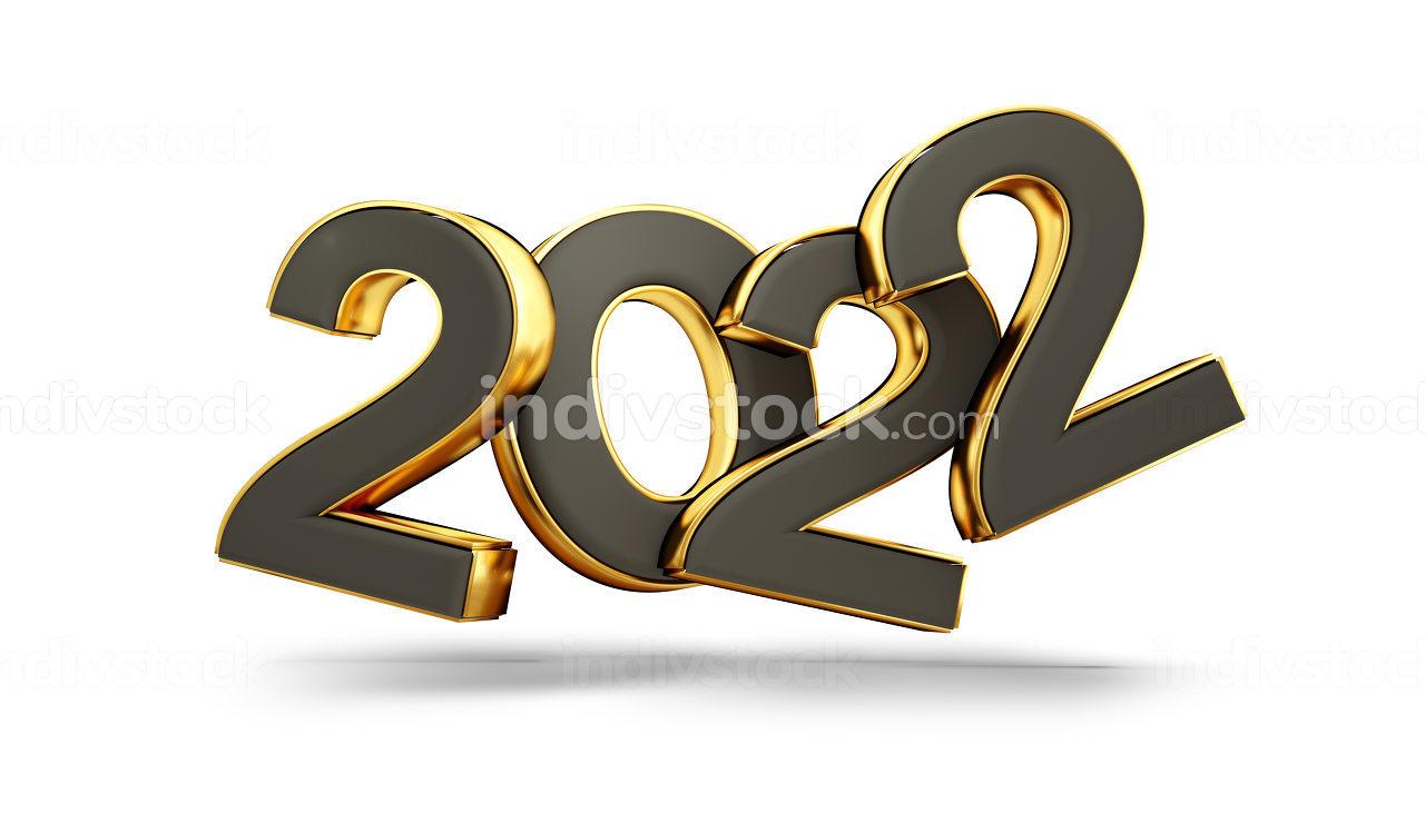 2022 dark and golden symbol 3d-illustration