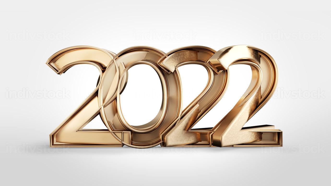 2022 golden bold letters symbol 3d-illustration