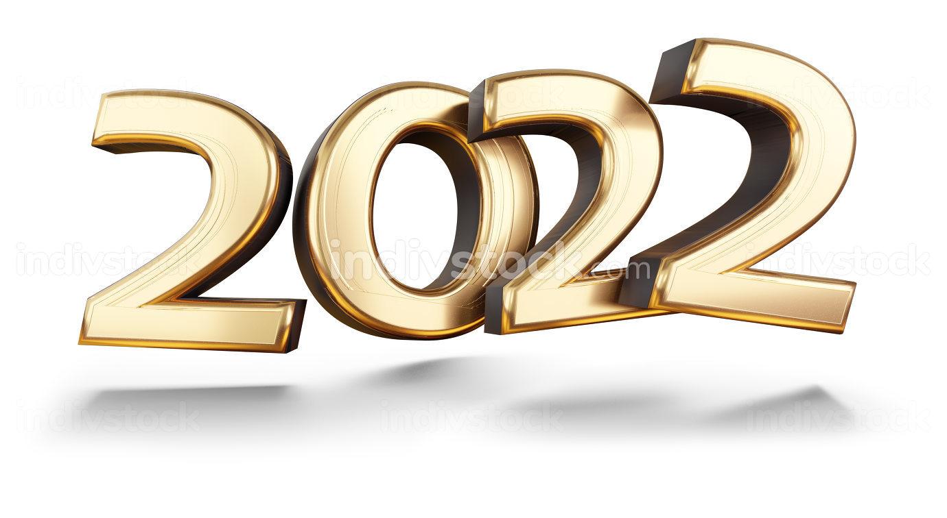 2022 golden metallic symbol modern design 3d-illustration