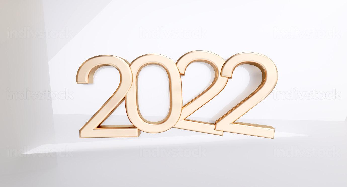 2022 golden symbol 3d-illustration metallic number