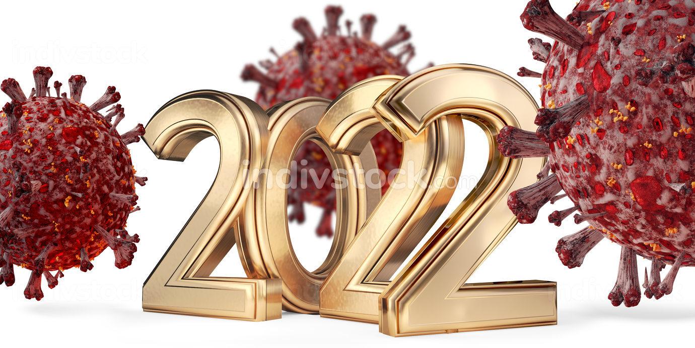 2022 golden symbol and Coronavirus red virus symbolic cells 3d-illustration background