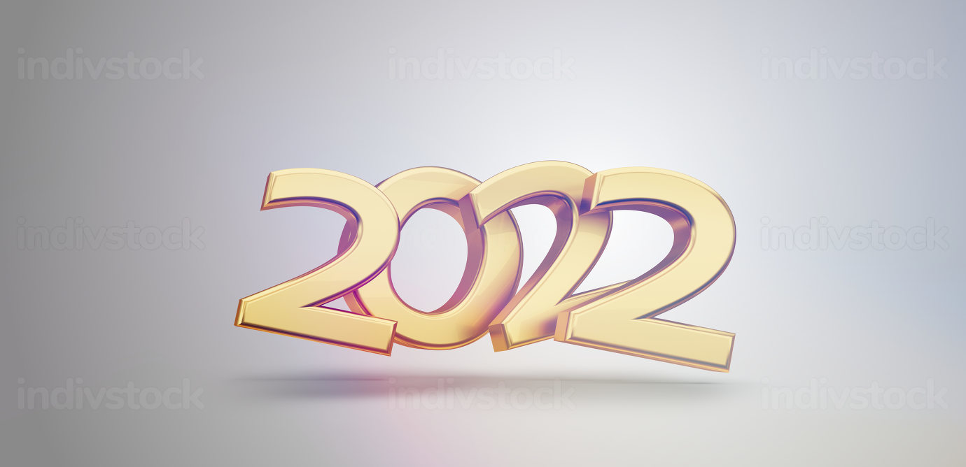2022 golden symbol metallic 3d-illustration