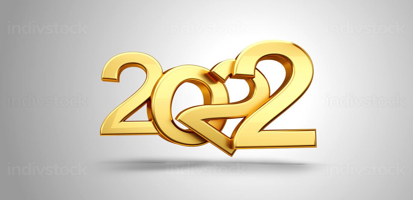 2022 golden symbol metallic 3d-illustration