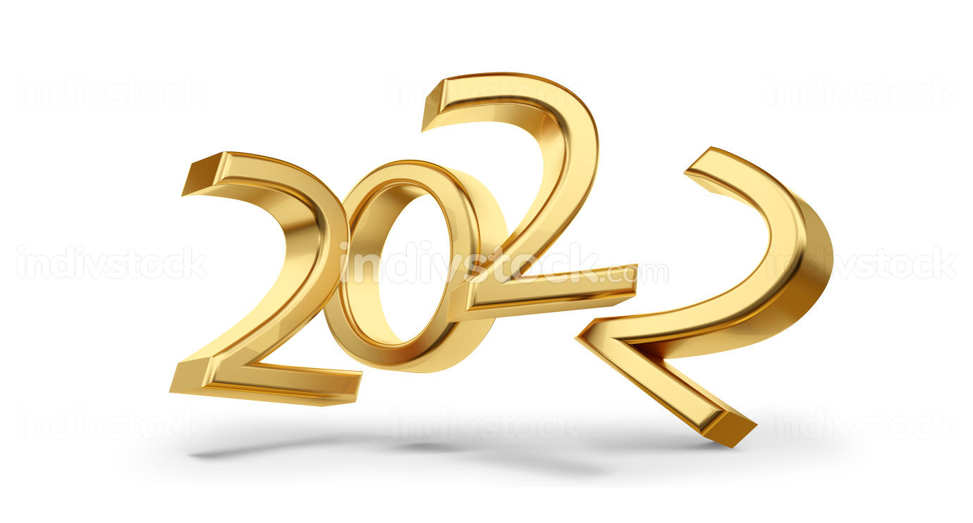 2022 golden symbol metallic glossy 3d-illustration
