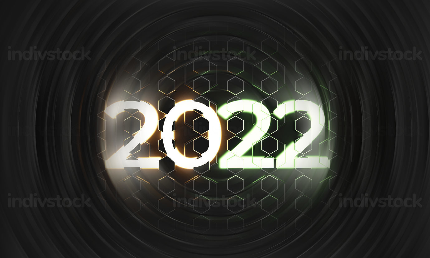 2022 neon light symbol in the middle of a creative swirl background 3d-illustration