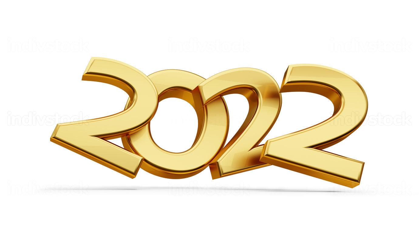 2022 symbol golden metallic 3d-illustration