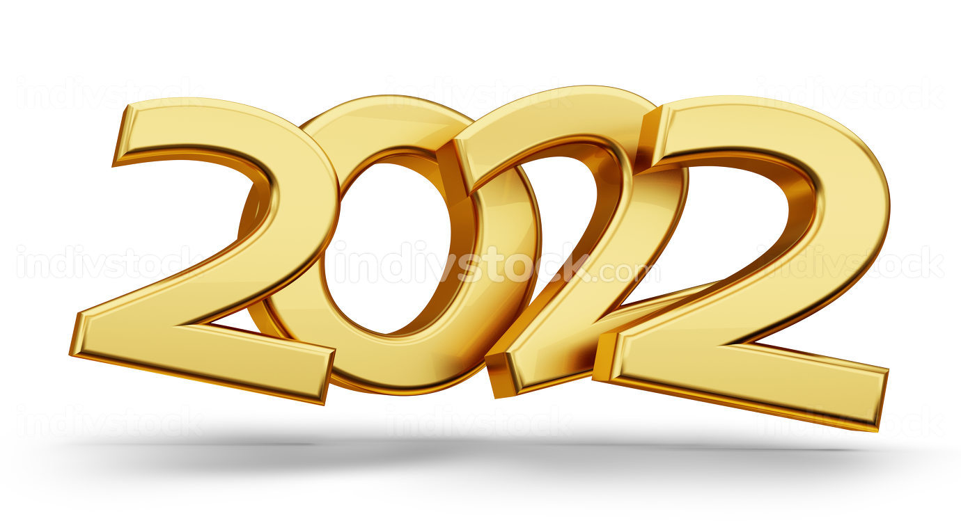 2022 symbol golden metallic 3d-illustration