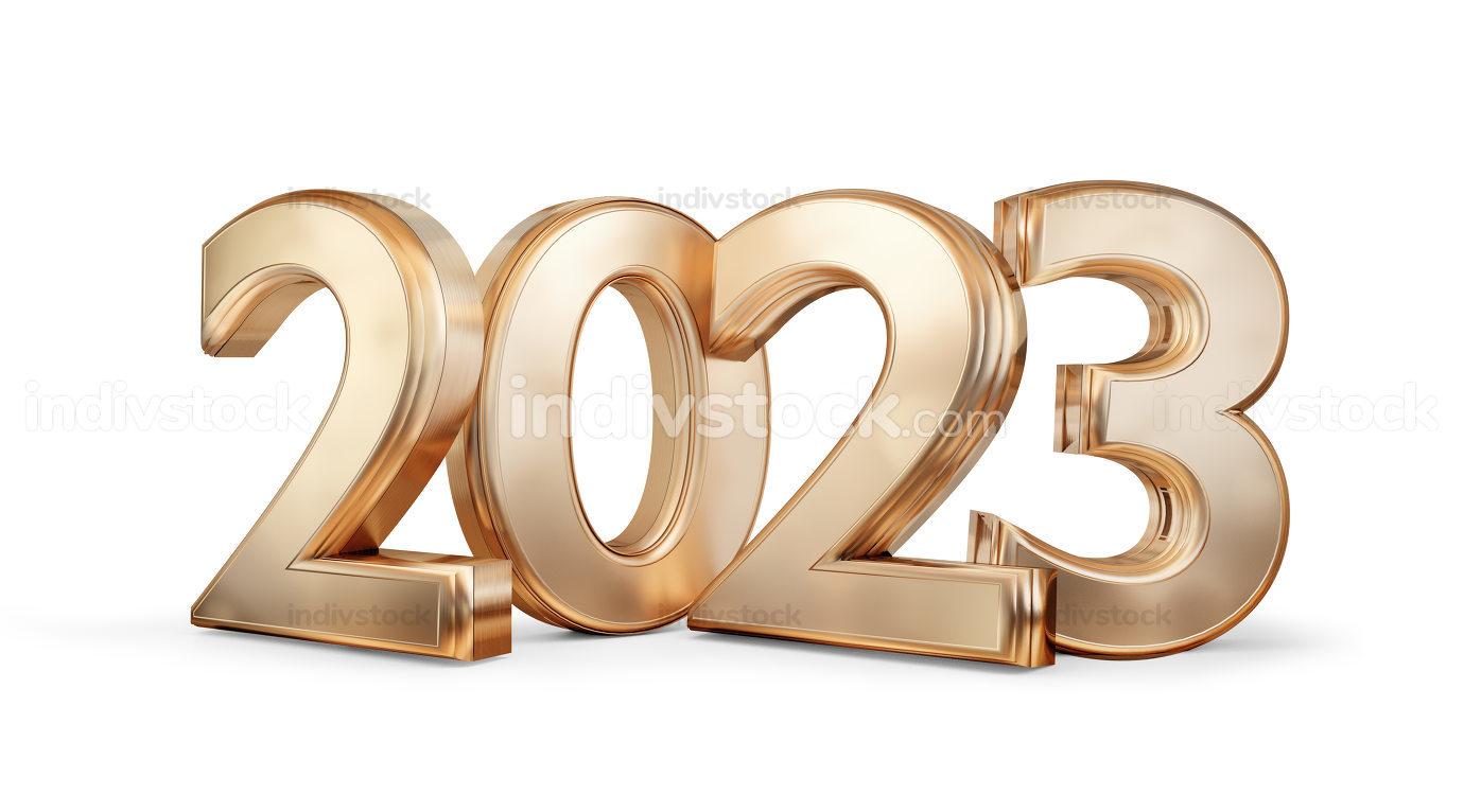 2023 symbol golden metallic number 3d-illustration