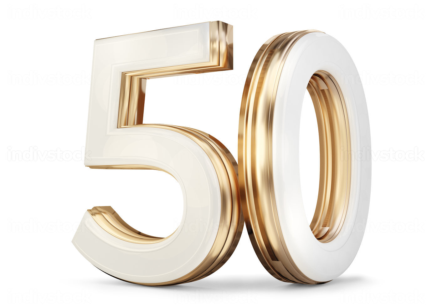 50 white golden symbol isolated 3d-illustration