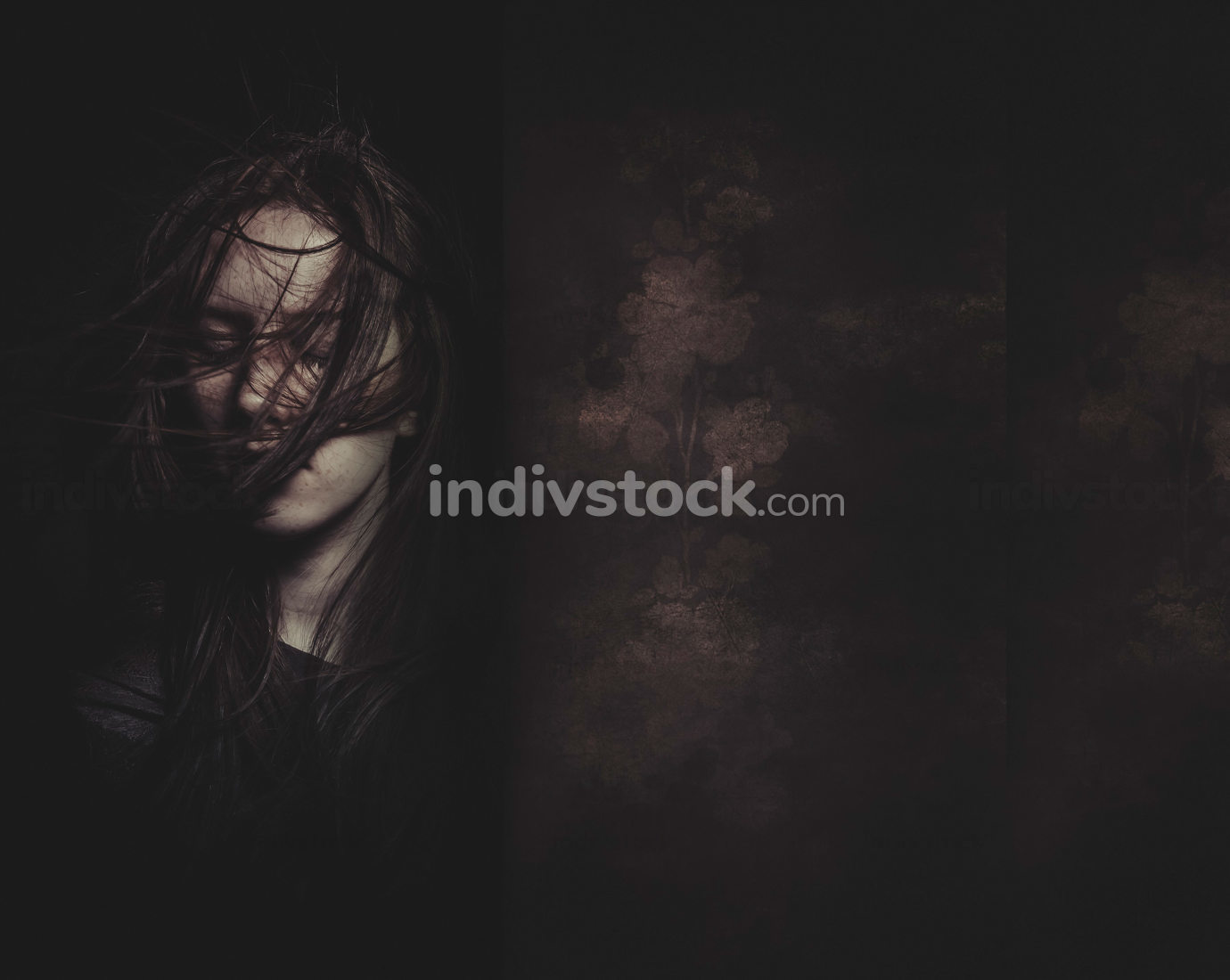 A tender portrait of a dreamy girl with eyes closed, perfect sk