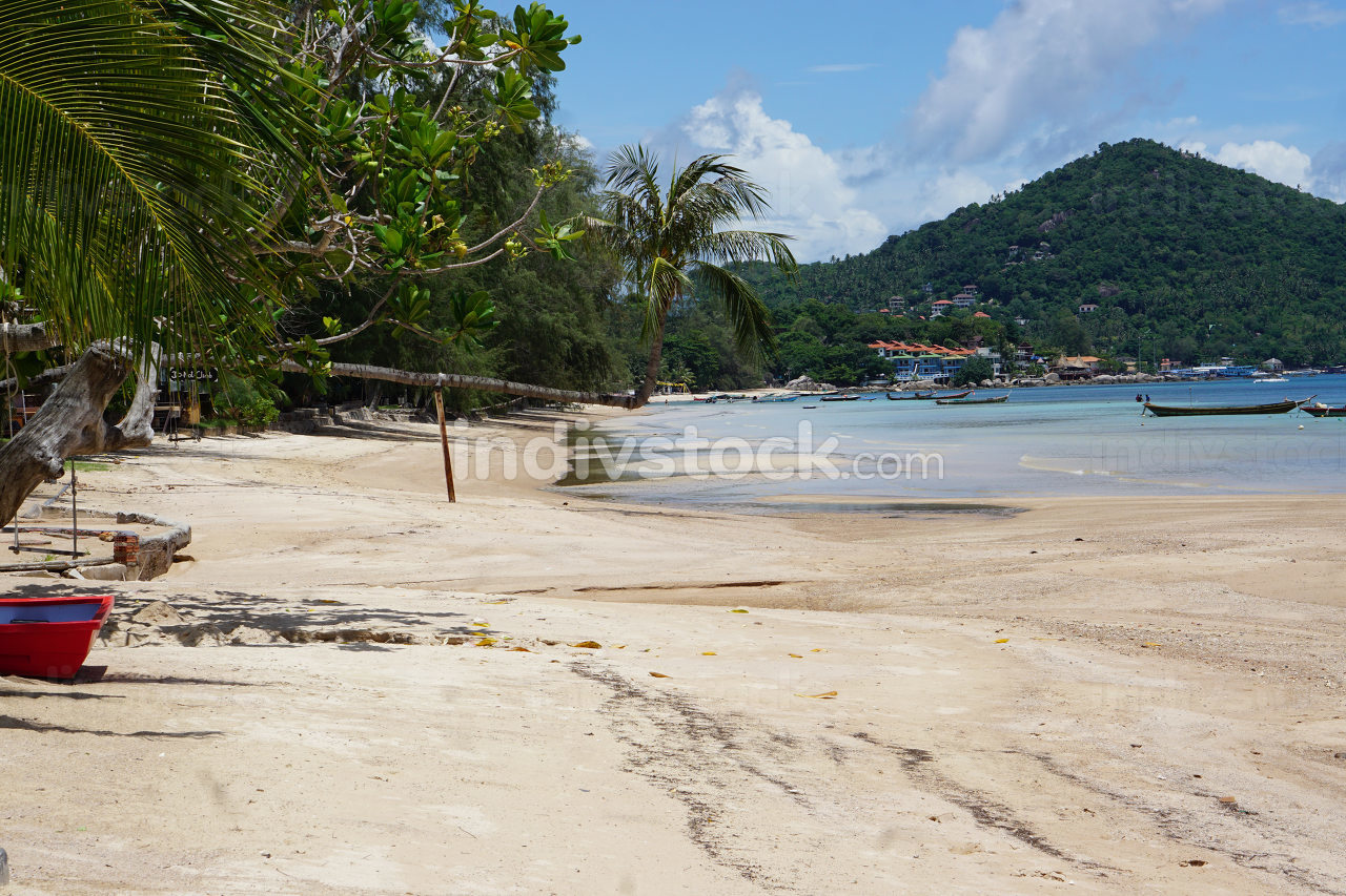 a view of the most popular beach in Koh Tao, the empty Sairee beach in Thailand at May, 2021