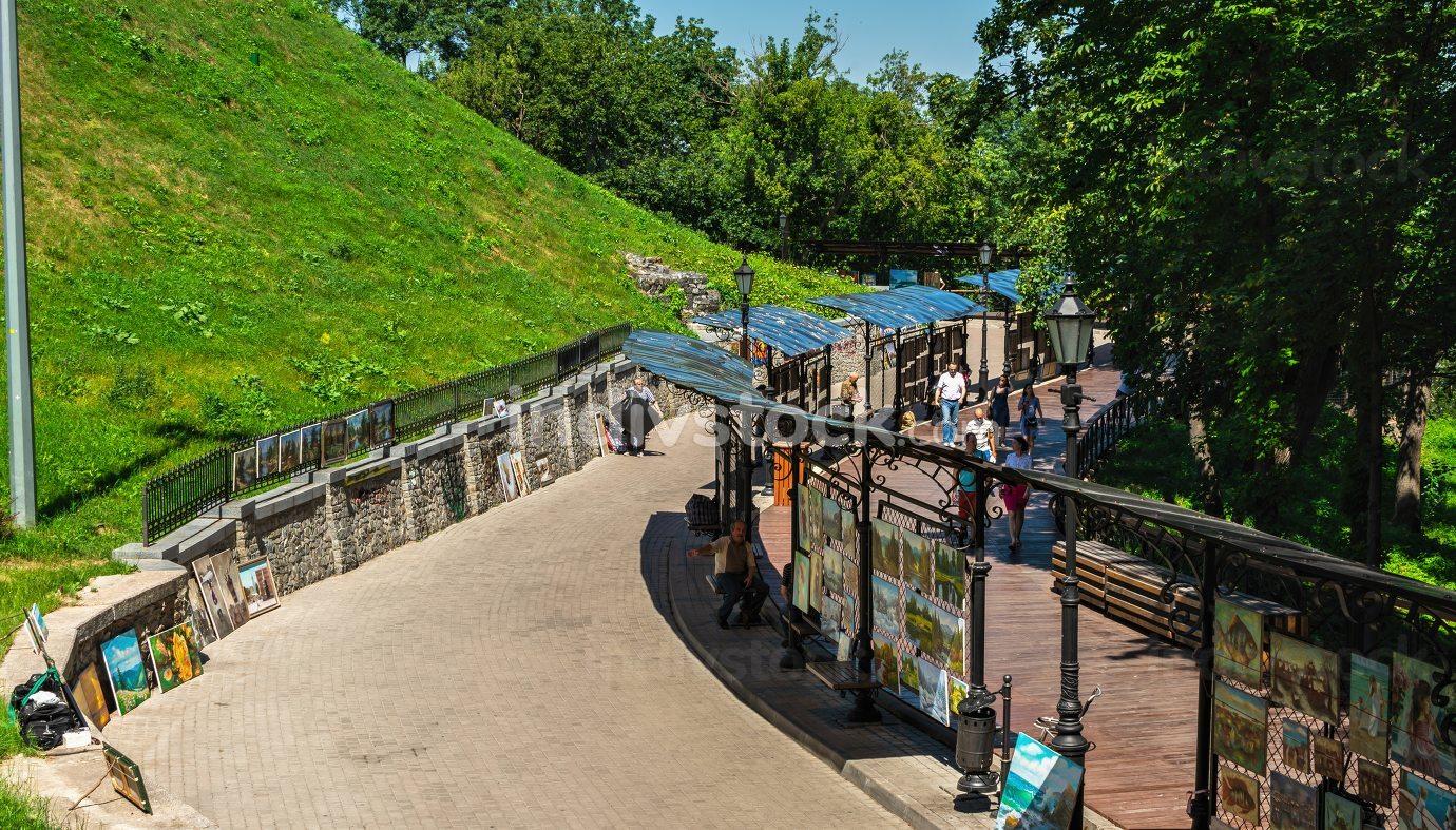 Alley of artists in Kyiv, Ukraine