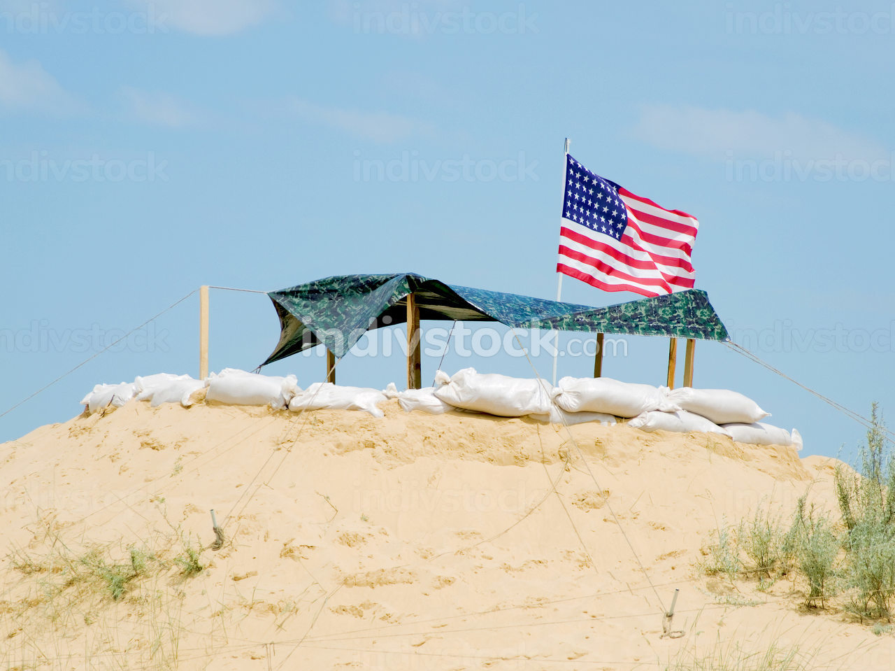 american military checkpoint with the US flag