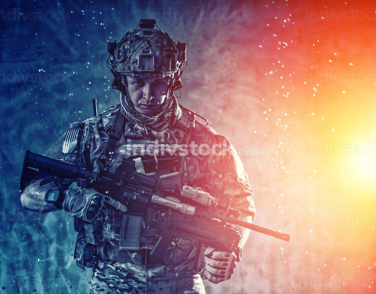 Anti terrorist squad fighter, army special forces rifleman in battle uniform, tactical radio headset, backpack, body armor, aiming service rifle with collimator sight, sneaking in darkness under rain