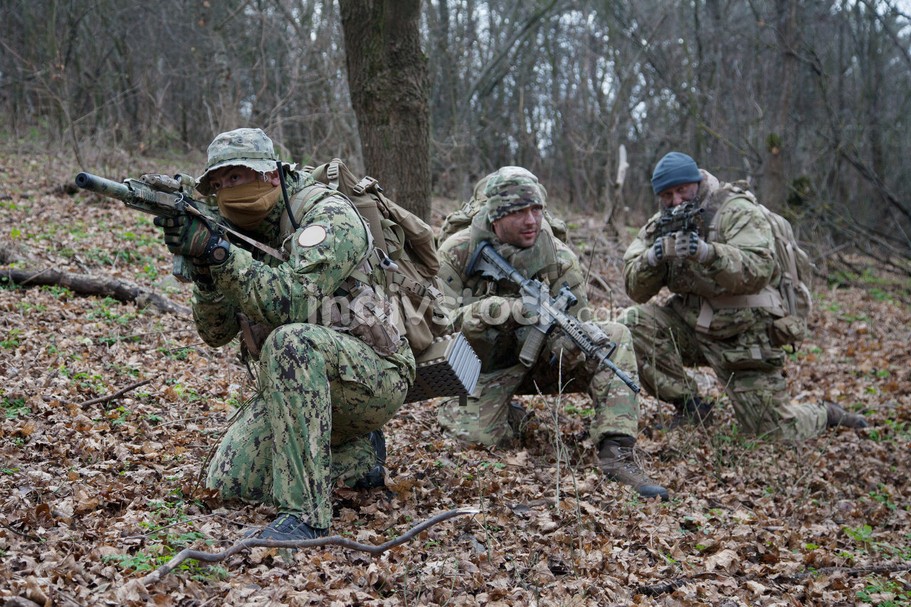 Army military soldiers team wearing camouflage uniforms and ammunition, armed assault rifles, machine gun replicas, hidings in woods, making ambush in forest, training in tactical teamwork