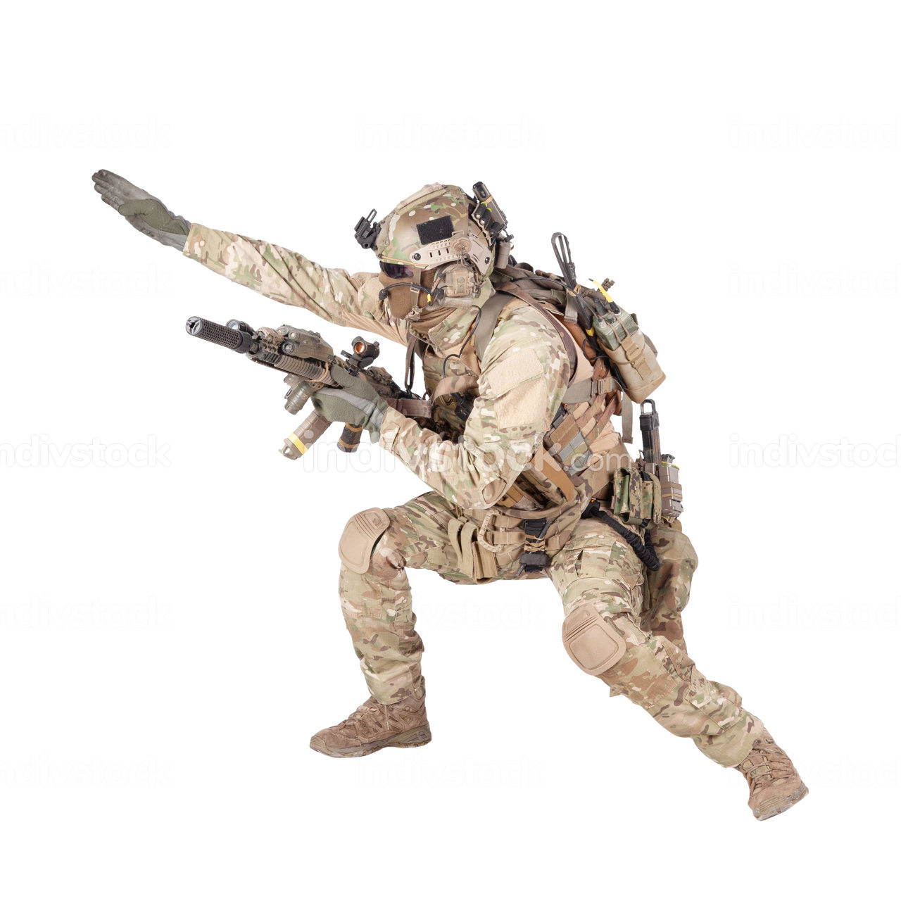 Army soldier, modern combatant, fireteam sergeant in battle uniform and helmet, armed with service rifle, duck under enemy fire, giving follow me arm signal studio shoot isolated on white background
