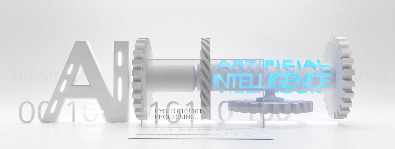artificial intelligence symbolic machine and gears with transparent computer screen and binary code 3d-illustration