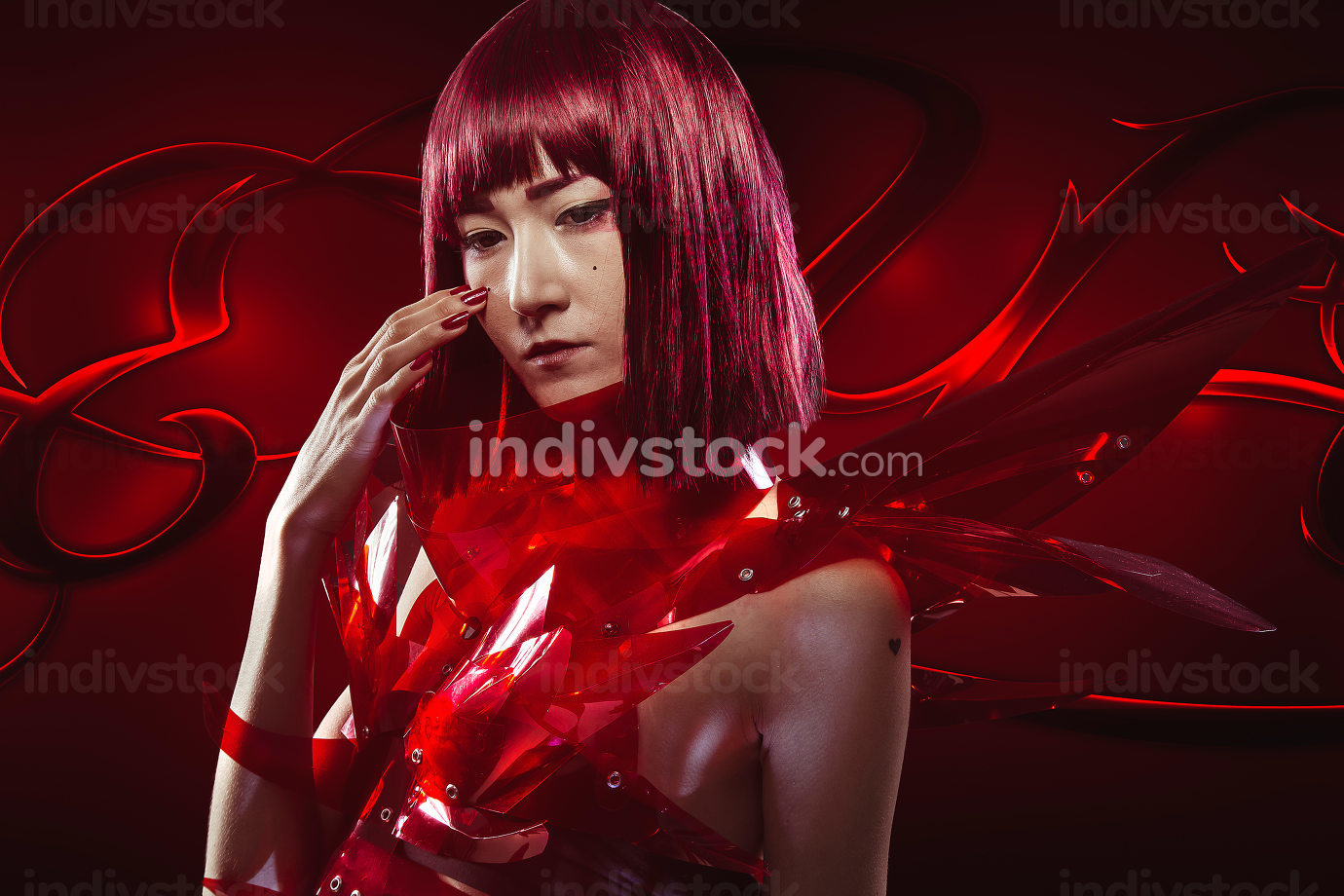 Asian girl with red dress transparencies, fantasy image and futu