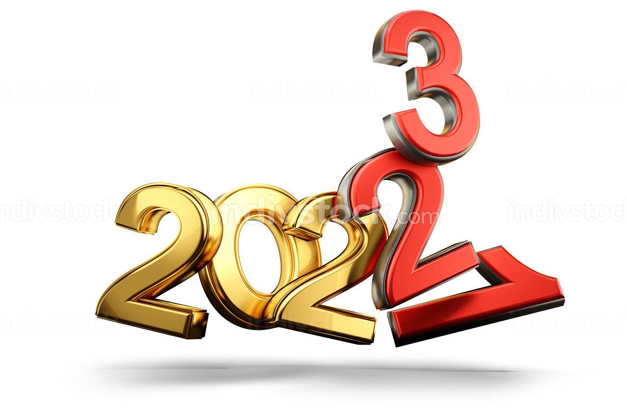 bad years symbolic 2021 2022 and 2023 3d-illustration