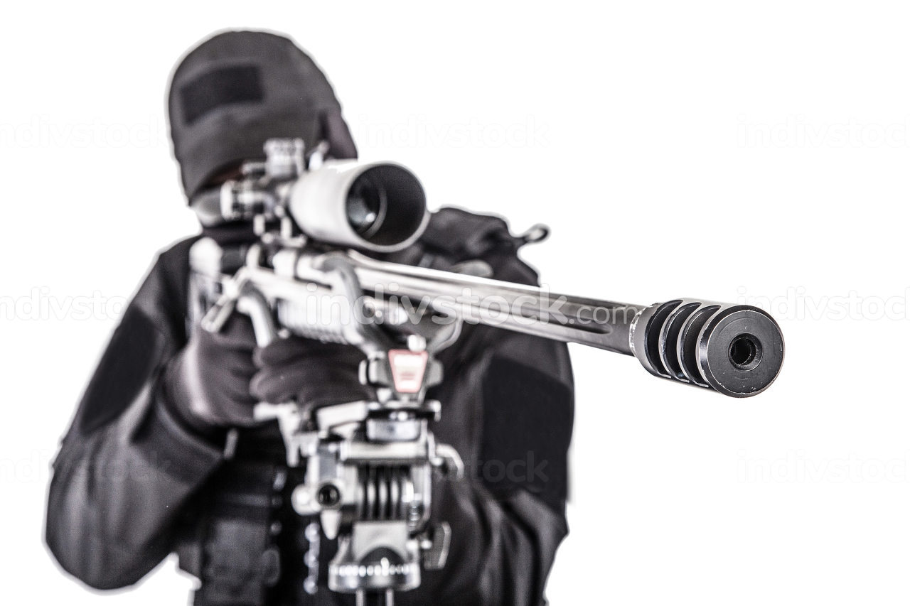 Close up studio shoot of sniper rifle barrel with police counter-terrorist team, SWAT sniper shooter aiming through telescopic optical sight on rifle mounted on tripod, isolated on white background