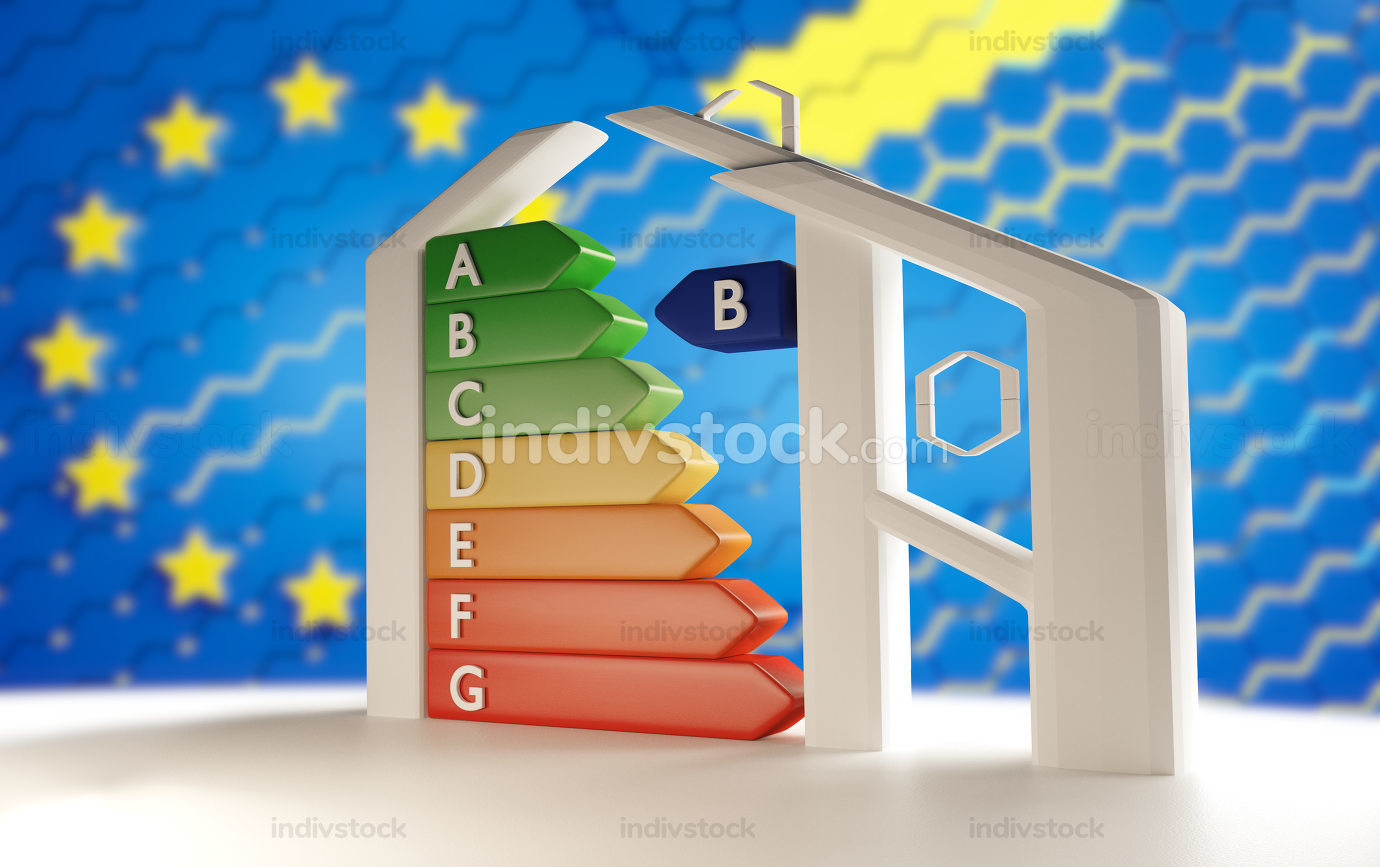 creative house with Energy-Label from A to G from green to red and blurred creative Europe background 3d-illustration