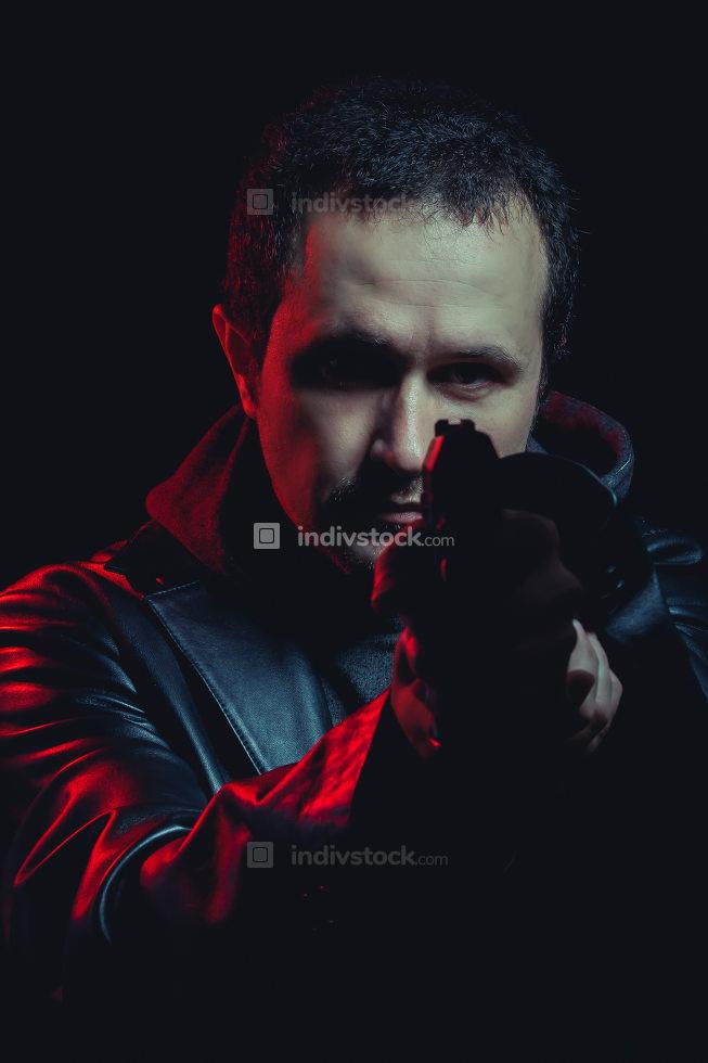 dangerous man with a gun, shooting