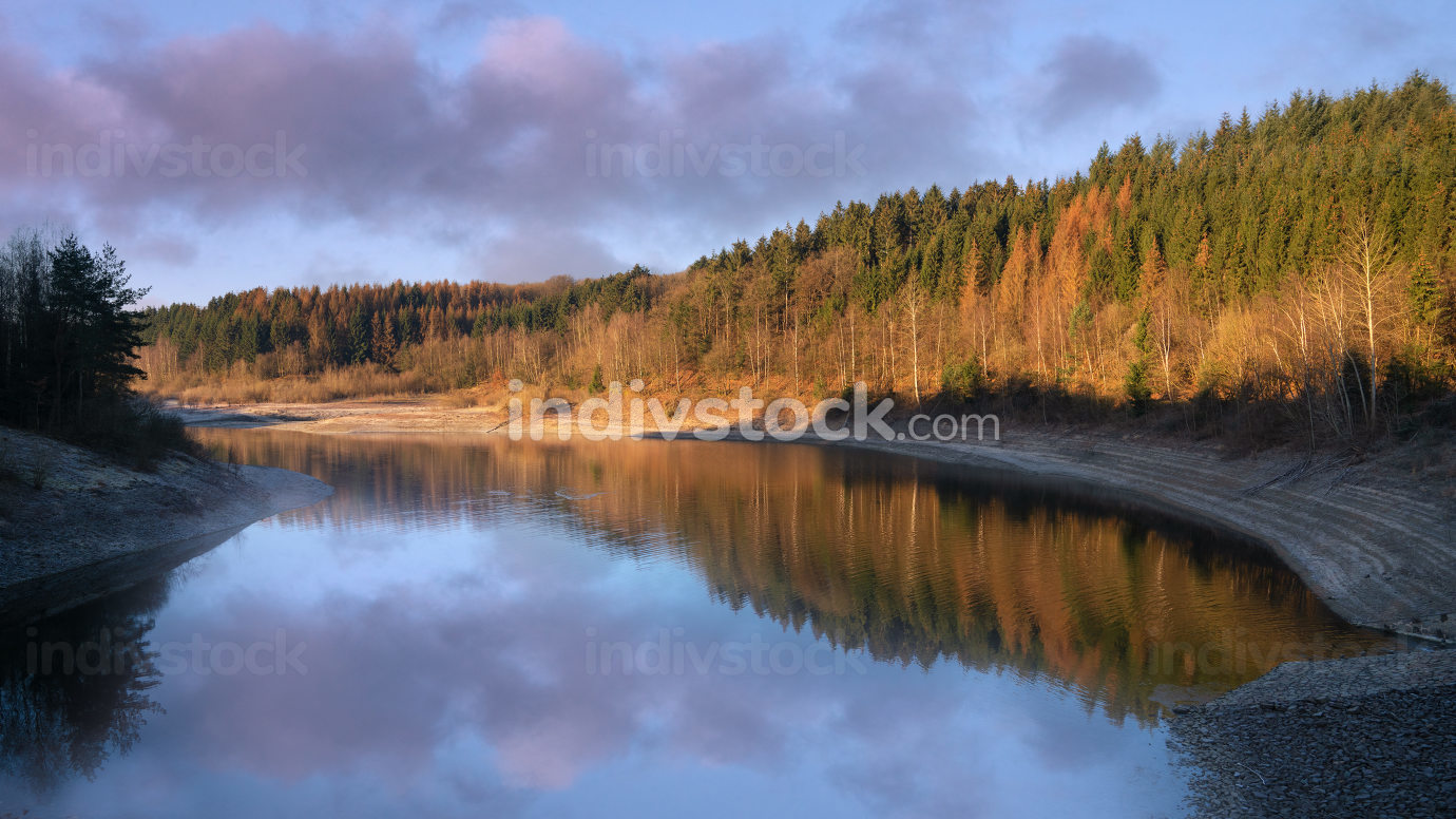 Dhunn water reservoir at sunrise, Bergisches Land, Germany