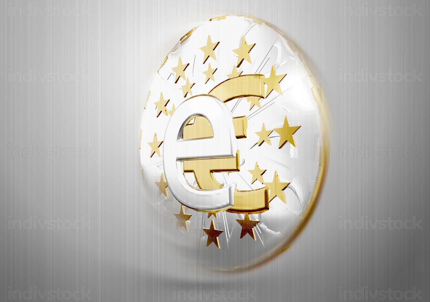digital currency e-euro golden symbol metallic 3d-illustration