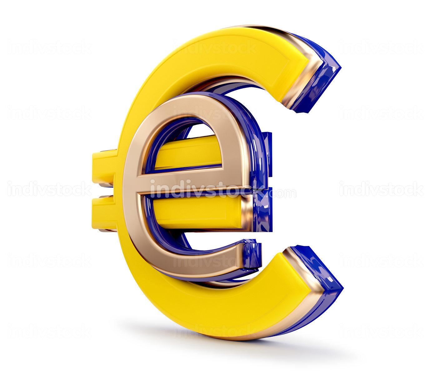 digital currency symbolic E-Euro design 3d-illustration