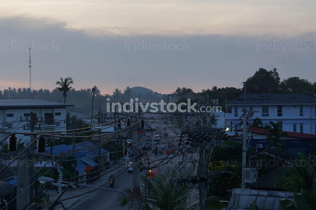 Early evening in Thailand on the island Koh Samui, Samui Town Center Bo Put, Surat Thani, Thailand, April 25, 2021