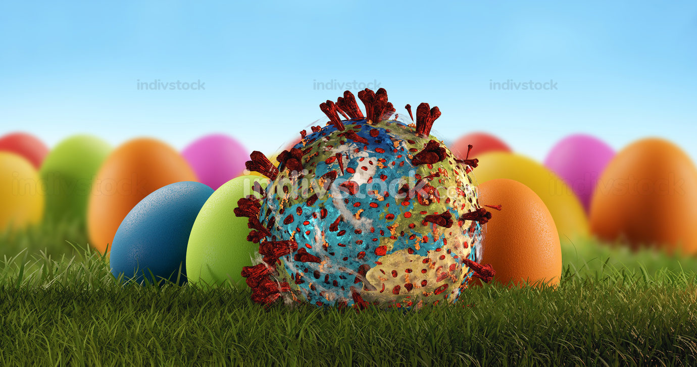 easter eggs and pandemic virus and globe 3d-illustration. elements of this image furnished by NASA