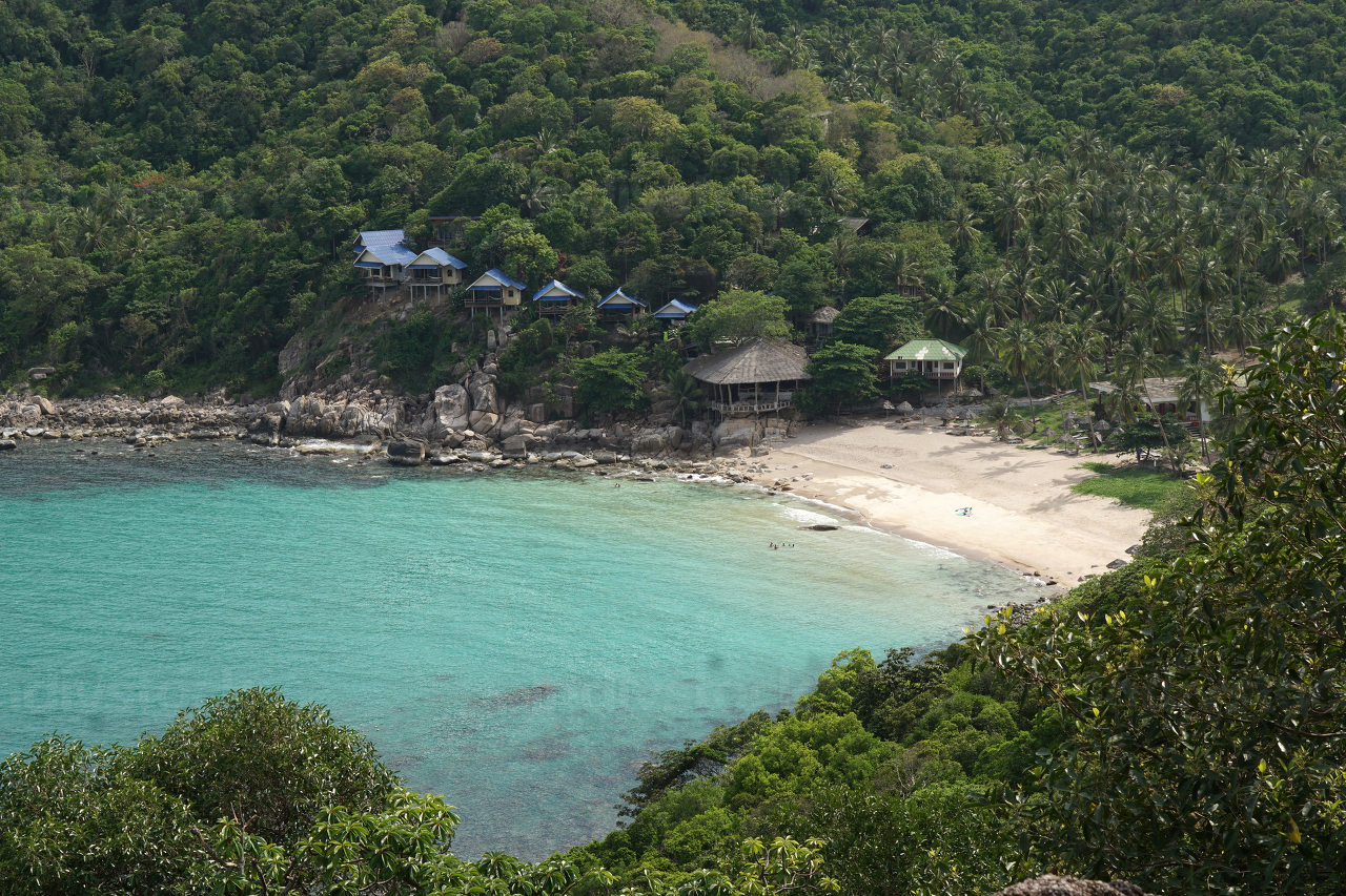 empty natural bay and the popular beach named Tanote Bay on the island named Koh Tao in Thailand, May 3, 2021
