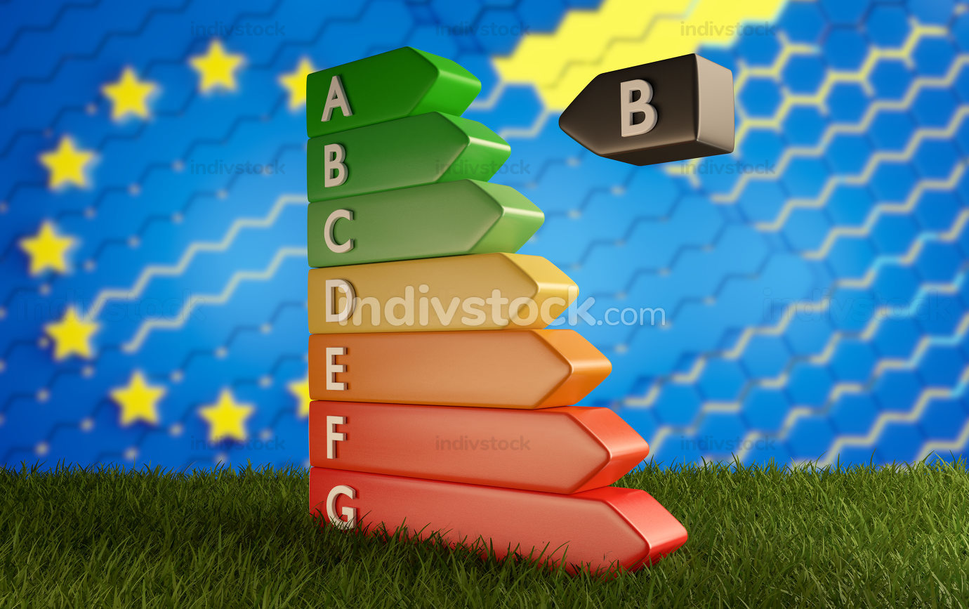Energy-Label from A to G from green to red 3d-illustration