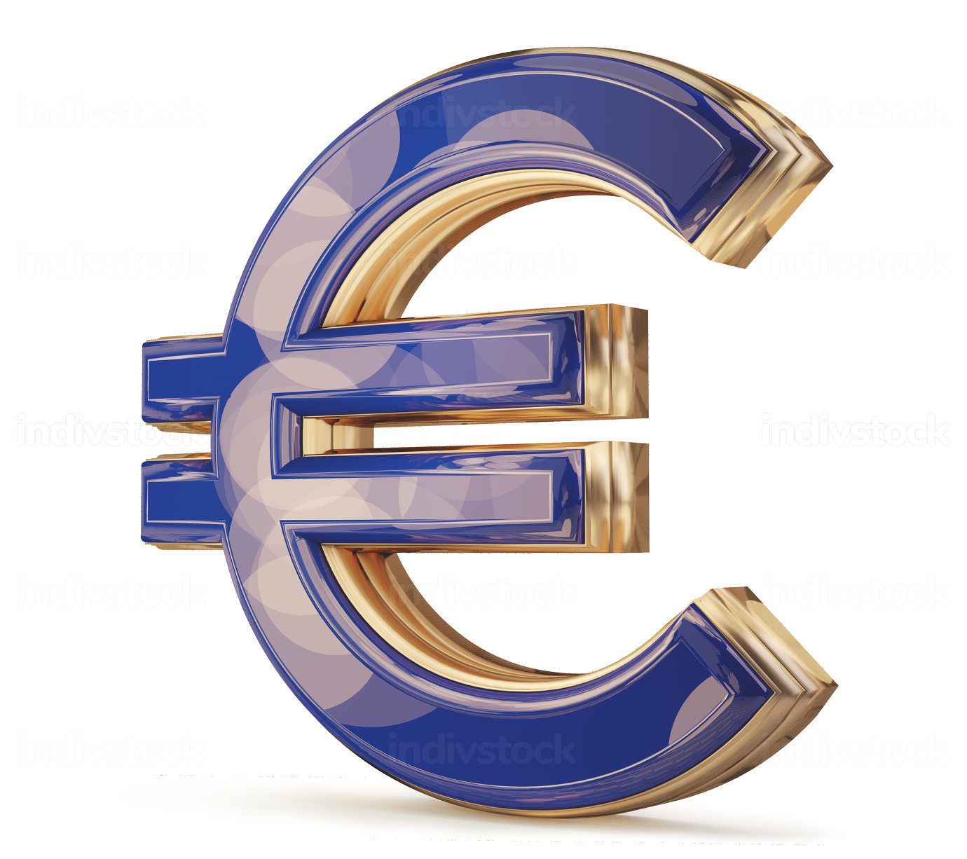 Euro EUR blue golden symbol isolated 3d-illustration