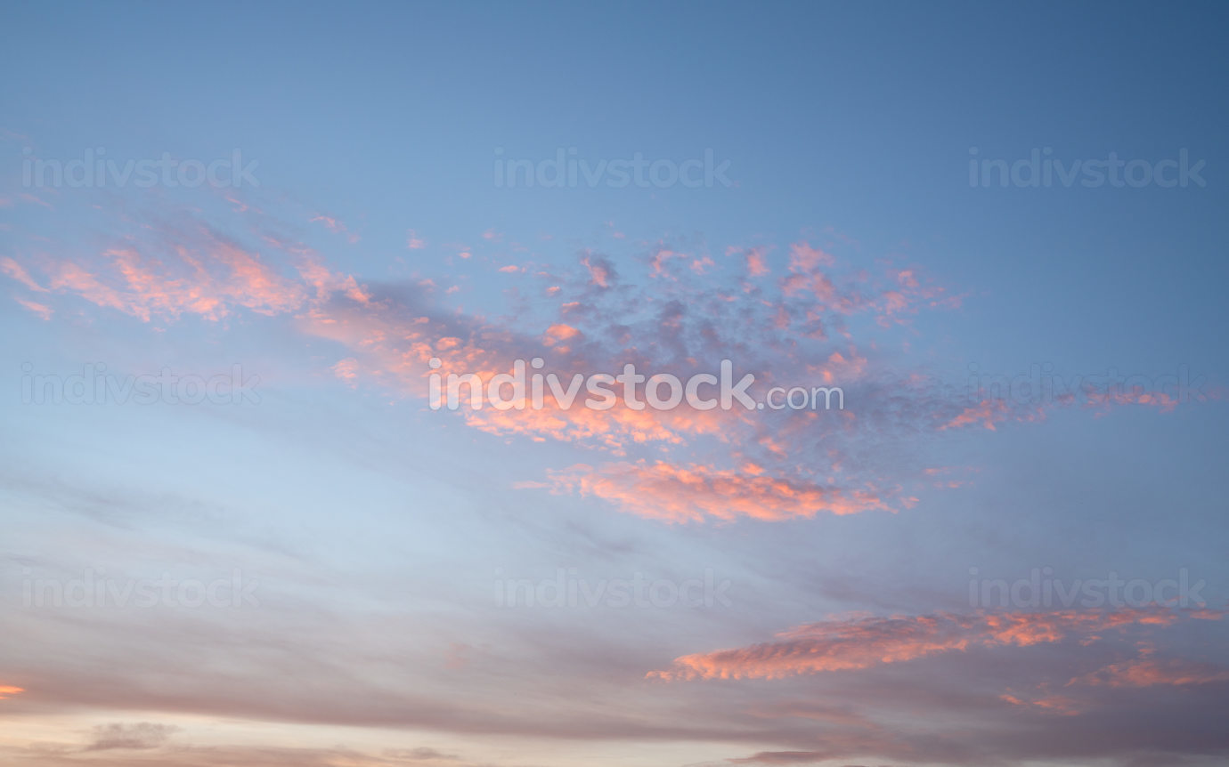 Evening sky with pastel-colored clouds