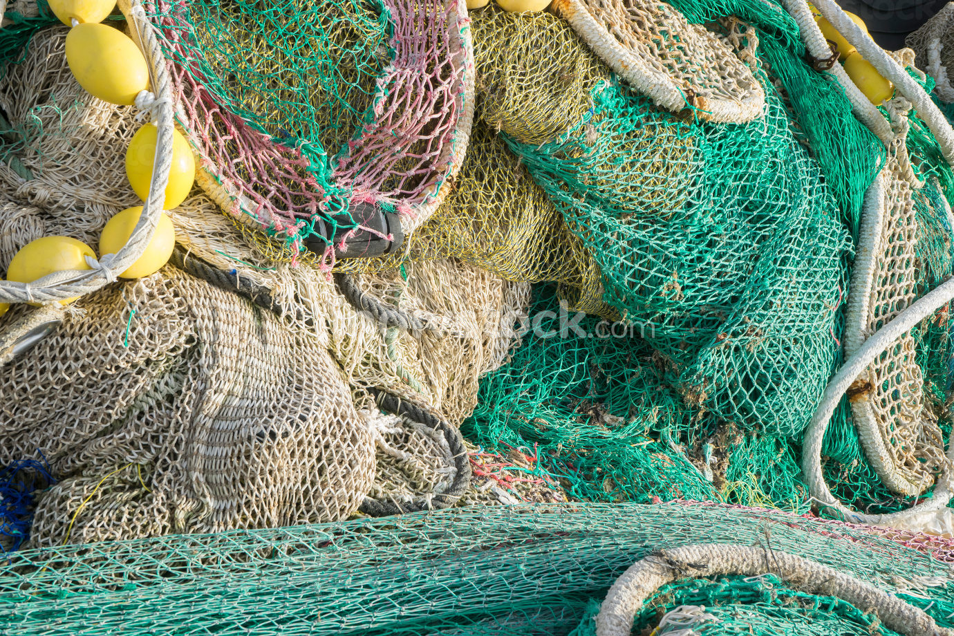 Fisherman, rigs and fishing nets with a port in Mallorca, Spain.