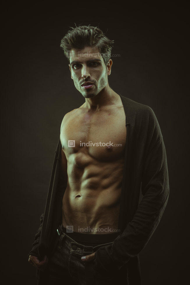Fitness, muscular man brown hair, caucasian young Spanish naked