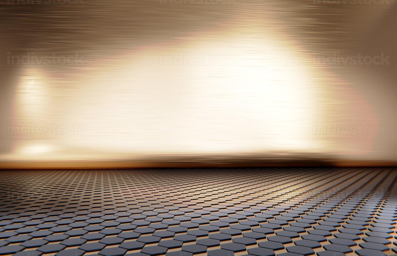 glossy golden and hexagonal background design 3d-illustration
