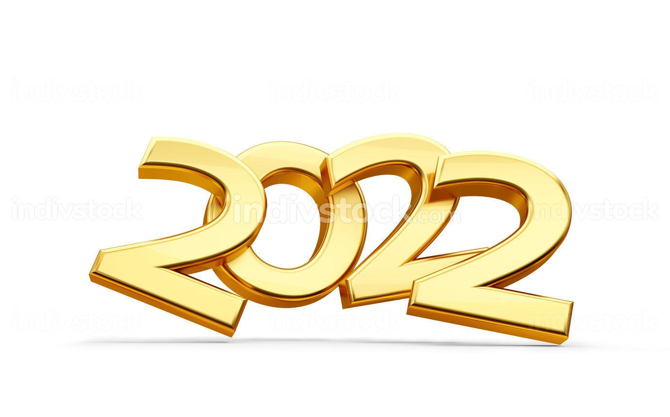 golden metallic 2022 symbol with shadow 3d-illustration